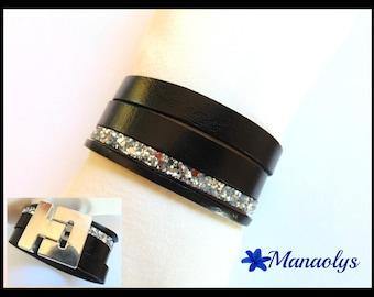 Cuff Bracelet black and silver glitter leather
