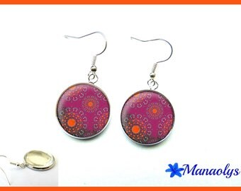 Bohemian earrings, orange and plum motifs, 3104 glass cabochons