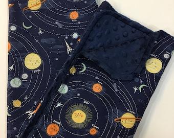 Solar System Baby Blanket, Gender Neutral Minky Blanket, Lovey, Nursery Bedding, Space, Planets, Science Geek, Navy Minky