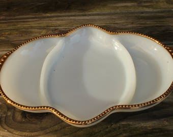 Fire-King Milk Glass and Gold Partitioned Serving Dish