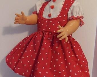 """Red Polka-dot Jumper Type Dress Set for 27"""" Horsman Walk A Bye Dolls"""