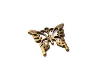 Bronze colored Butterfly pendant charm
