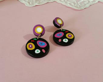 Vintage Pop Art Retro Mod Earrings Pierced Earrings 1970s