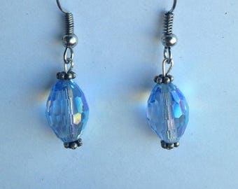 Blue glass Beads with silver toned accents Dangle Earrings, hypoallergenic fish hooks