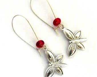 Earrings sleepers silver Dragonfly charm red bead