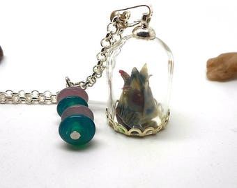 Origami flower glass globe necklace, beads spun