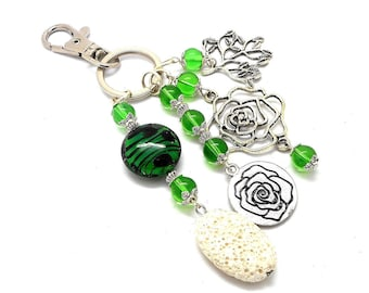 A scent! silver plated bag charm, charms, green beads