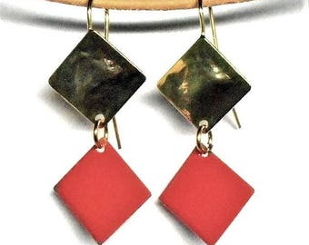 Old enameled pink gold earrings
