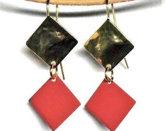 Old enameled pink gold earrings