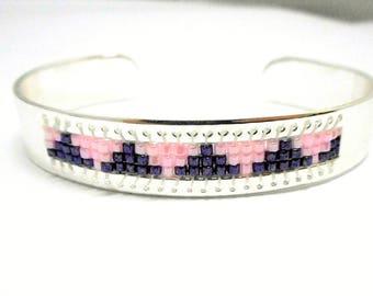 Bangle Silver Pink and purple beads