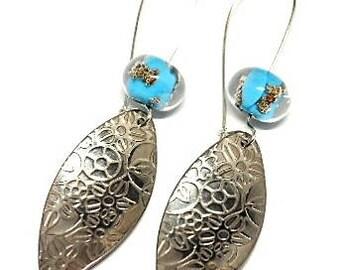 Blue Bead and floral sleeper earrings