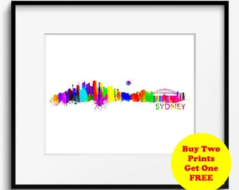 Sydney Skyline Watercolor Art Print (321) Cityscape Australia