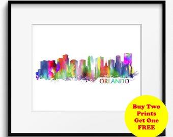 Orlando Skyline, Watercolor Art Print (041) Orlando Cityscape, USA Art Print, Florida Art Print, Orlando Art Print, Orlando Poster, Wall Art