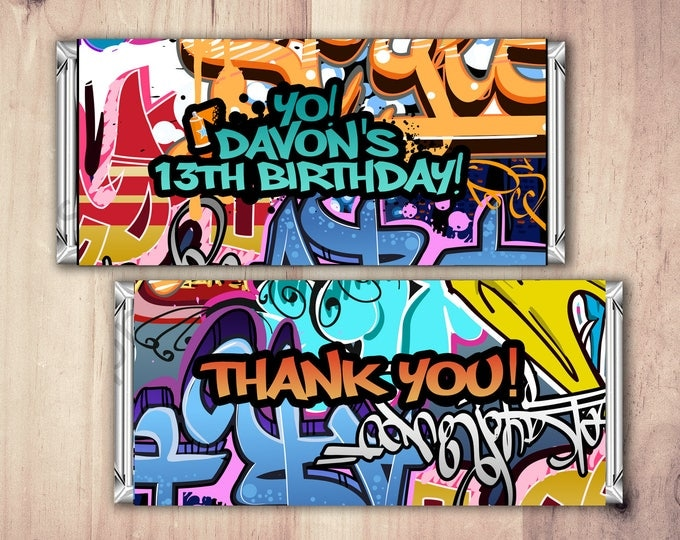 Fresh Prince, Birthday, Baby Shower, Hip Hop, candy wrapper, 90's, graffiti, invitation, birthday, DJ, 90's party, Hip Hop