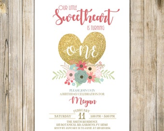 FLORAL SWEETHEART BIRTHDAY Invitation, Little Sweetheart Birthday Invite, Valentine Birthday, Valentines, February Birthday, Pink and Gold