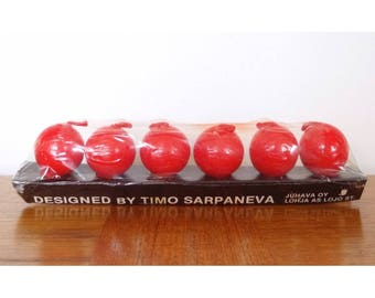 Juhava Oy Small Round Red Candles - Timo Sarpaneva Design - Made in Finland