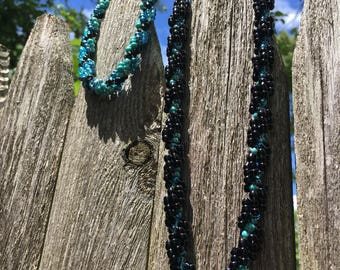 Shades of Teal with Black Spiral Set