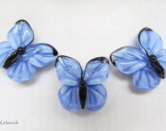 Lampwork butterfly beads, 1 pc blue handmade lampwork beads, artisan glass beads, lampwork glass beads for jewelry, insect glass  beads