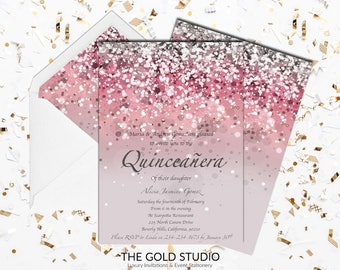 Pink Quinceañera invitation | Mis Quince Anos Pink Glitter 15th Birthday Invite | Glamorous Pink Birthday Quince invitation | FREE SHIPPING