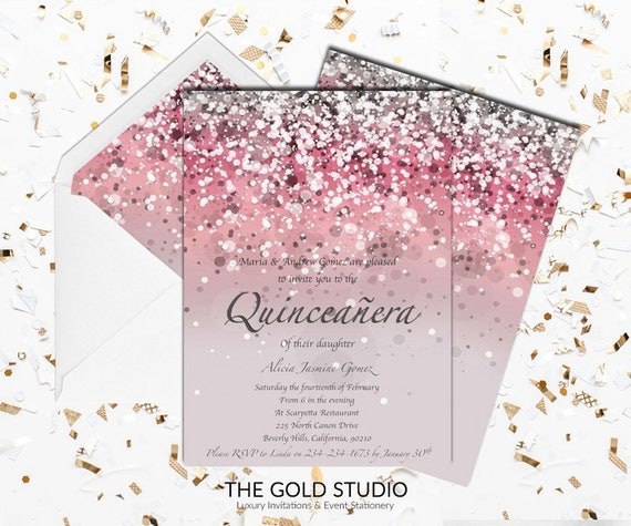 Mis 15 Anos Bracelet: Pink Quinceañera Invitation Mis Quince Anos Pink Glitter
