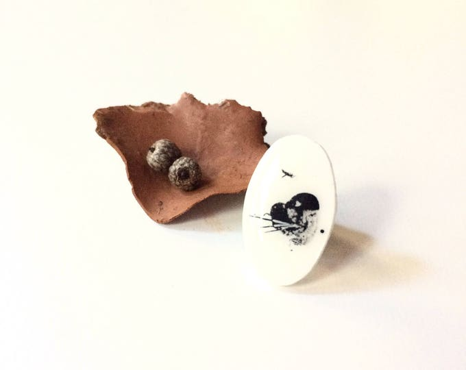 Hawk sees handmade pin / original tiny ink sketch art on shrink plastic lapel pin / wearable tiny landscape art