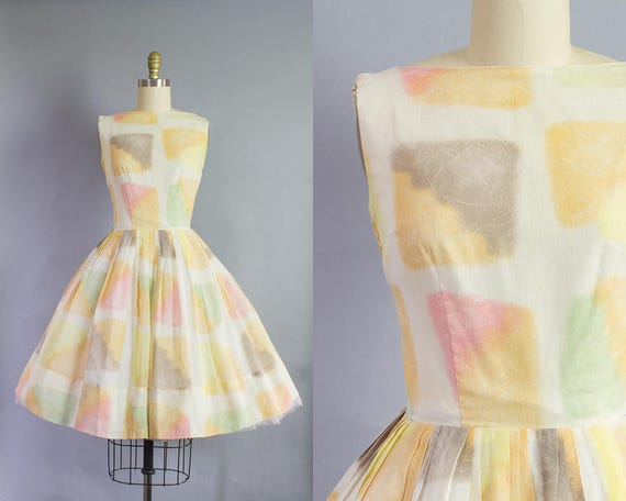 1950s Pastel Checkered Dress   Small (34B/26W)