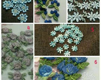 30/50 Small BLUE Purple Petal Flower Applique Flower Patch Sew On