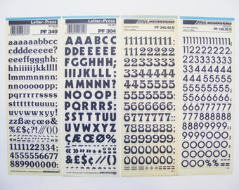 4 letraset Mecanorma rub on transfer sheets, letter-press for crafting, scrapbooking, card making, journaling
