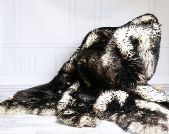 ON SALE Sexto Sheepskin Rug | Long rug | Shaggy Rug | Chair Cover | Area Rug | Black Rug | Carpet | Black Sheepskin