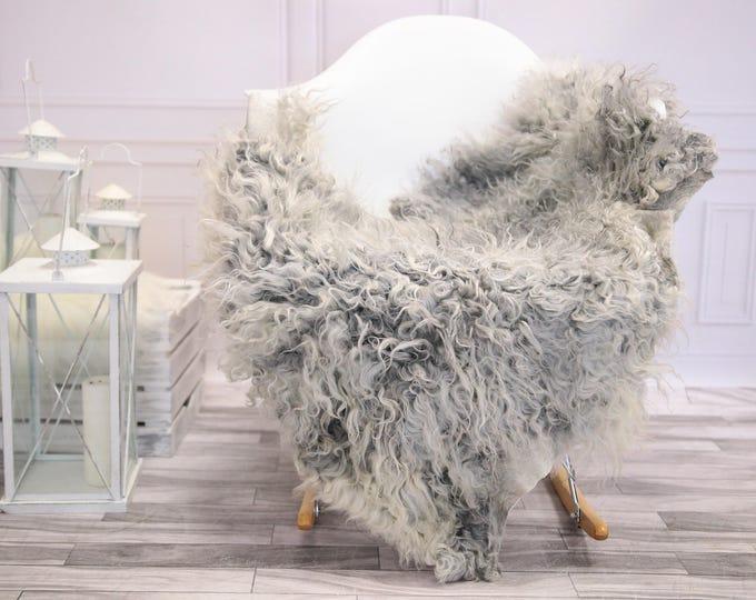 Genuine Rare Gotland Sheepskin Rug - Curly Fur Rug - Natural Sheepskin - Gray  Sheepskin #DECGOT1