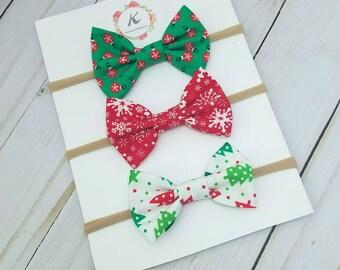 Christmas nylon headband set - christmas bows - holiday bows - baby girl headbands - snowflake bow - ornament bow - christmas tree bow - bow