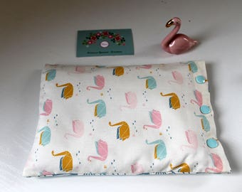 Heating pad with cotton, organic flax seeds, swans origami in STOCK
