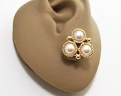 Napier White Three Pearl Pierced Post Stud Earrings Gold Tone Vintage Twisted Rope Rings Raised Round Nail Head Triangle Stacked Discs