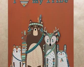 I Love my Tribe ,Fox, Bear, Deer, Rabbit Tribal metal wall art, Nursery theme decor, Children's Room decor