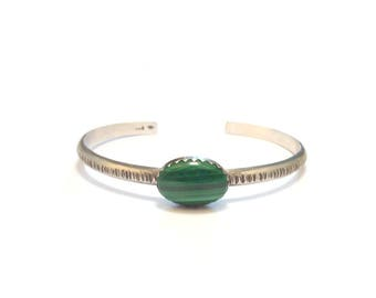 Bangle is open silver Sterling and Malachite