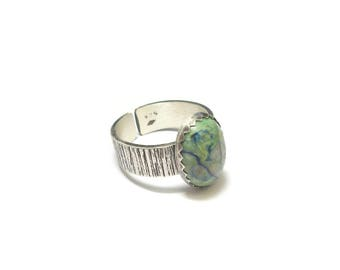 Ethnic Chrysocolla sterling silver ring
