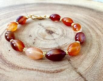Red Agate Oval Beaded Bracelet, Gifts for Her, Protection Bracelet,Autumn Colors,Birthday Gift Idea, Orange Agate Bracelet,Wellness Bracelet