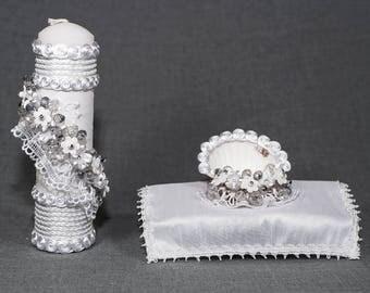 HandMade Christening Candle Set | Baptism candles Burbvus Model # 1 | christening gift