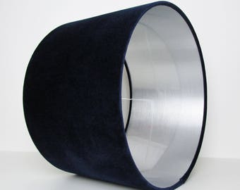 Navy Blue and Silver Velvet Lampshade