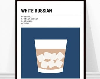 White Russian Print, Vintage Cocktail Print, Cocktail Recipe Art, Alcohol Print, White Russian Recipe