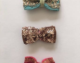 Mini bows/pigtail bows/petite bows/sparkly bows/toddler bows/infant bows/headbows
