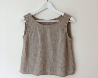 GRAY TEXTURED SHELL // Linen Cotton Crop Top Tank Top Xs Small Med