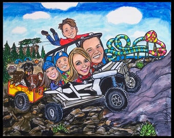 Custom caricature, retirement for men, retirement for women, retirement gift, retirement caricature,4 wheeling caricature , atv's caricature