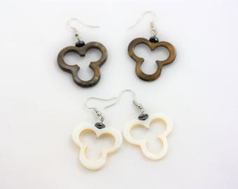 Mickey Mouse Triple Circle Shell Earrings Set   Natural Dark and White Shell Drop Earrings   La Isla Creations by Maribel