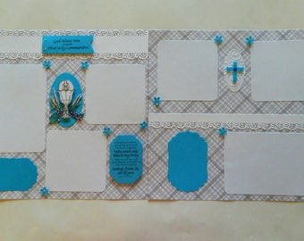 First Communion scrapbook pages for boys,12x12 Pages,Premade Scrapbook pages,Premade Pages,communion pages