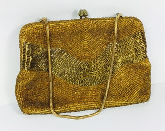 Vintage Evening Bag with Golden Beads