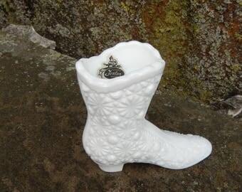 Fenton Milk Glass Daisy and Button Boot, Victorian Shoe, Bud Vase, Toothpick Holder, Vintage Wedding Decor Cottage Farmhouse RascalsRarities