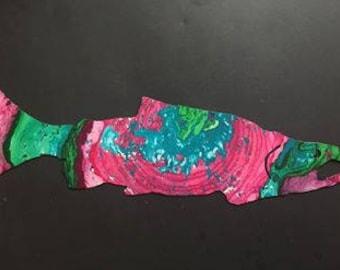 Hand Painted metal Salmon