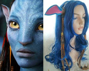 One headband Avatar Neytiri cosplay blue ears braids beads feathers Tree of Souls Pandora