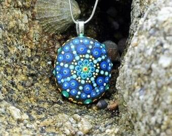 Pebble blue Mandala pendant, hand painted